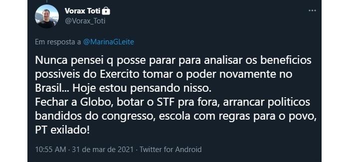 """Tweet de Toti apontando os """"benefícios"""" de um golpe militar (Reprodução/Twitter @roque_mn)"""