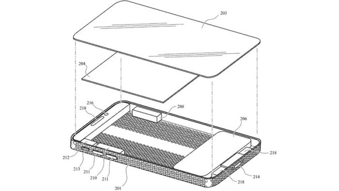 Patente mostra iPhone com design ralador de queijo do Mac Pro 2019 (Imagem: Reprodução/PatentlyApple)