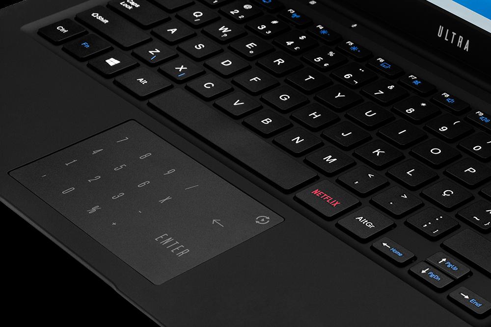 Ultra Notebooks 300 Series com tecla Netflix (Imagem: Divulgação/Multilaser)