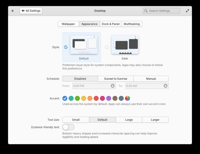 Configurações visuais do Elementary OS 6